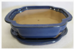 Bonsai Pot, Rectangle (CC), 26cm, Blue, Glazed, Saucer
